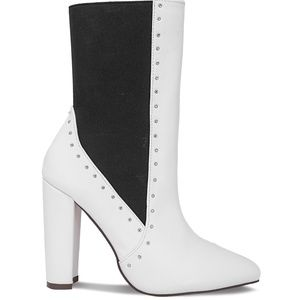 Women's Studded Chunky Heel White Ankle Bootie